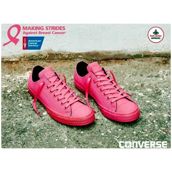 8add2d6d8de2fd Breast Cancer Pink Leather Converse Sneakers! NEW!